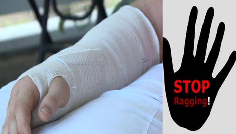 senior students breaks hand of plus one student who complained regarding ragging