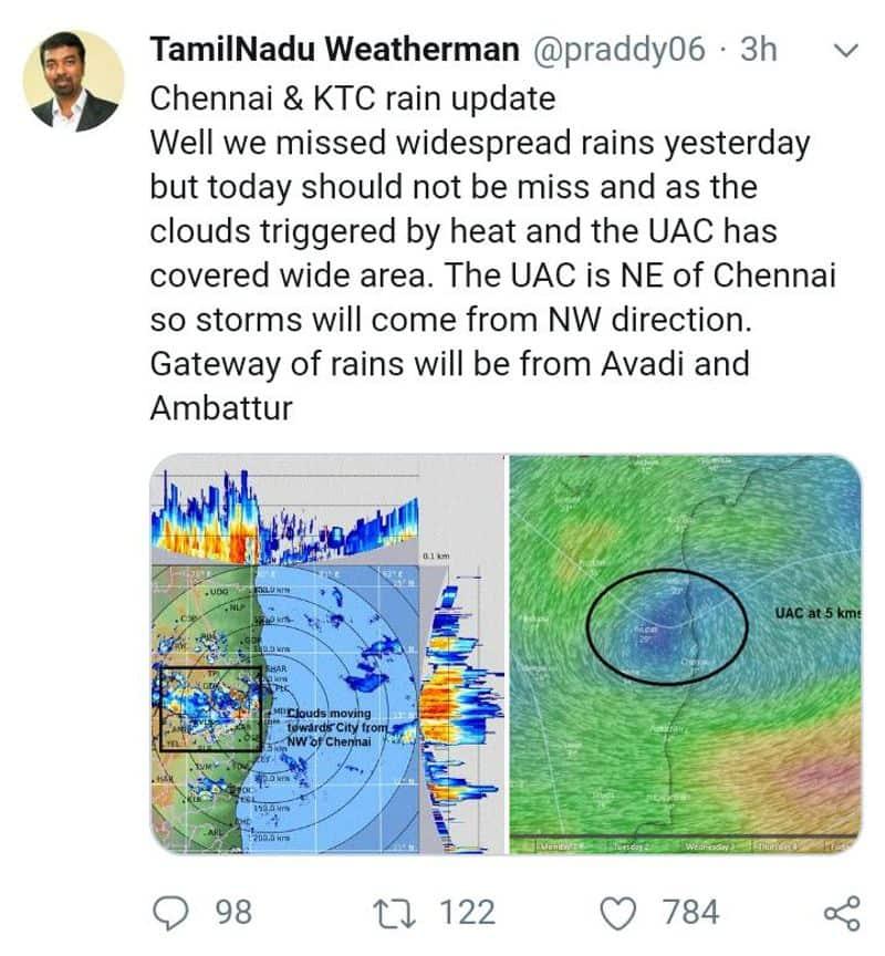 today night chennai have a mass rain tn weatherman told