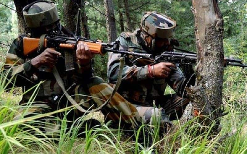 An exchange of fire between terrorists and security forces is underway in Narwani area of Shopian district