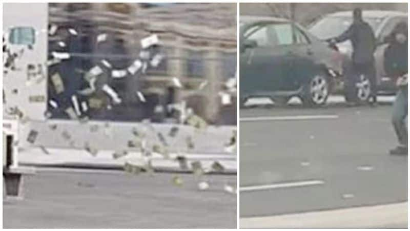 money  flied up in the air in us and people shocked and collected it on the road