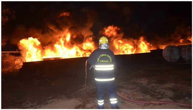 Fire at a power plant ... - Giant plastic pipe burnt down