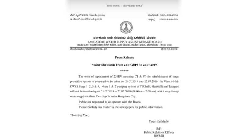 Bengaluru to face water shutdown on July 21 and 22 owing to refurbishment