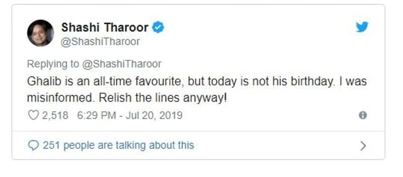 Tharoor makes twin gaffe with Ghalib verse, Akhtar corrects