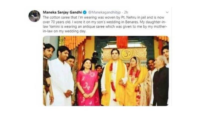 saree Im wearing was woven by Pt Nehru in jail Maneka Gandhi Shared A Photo