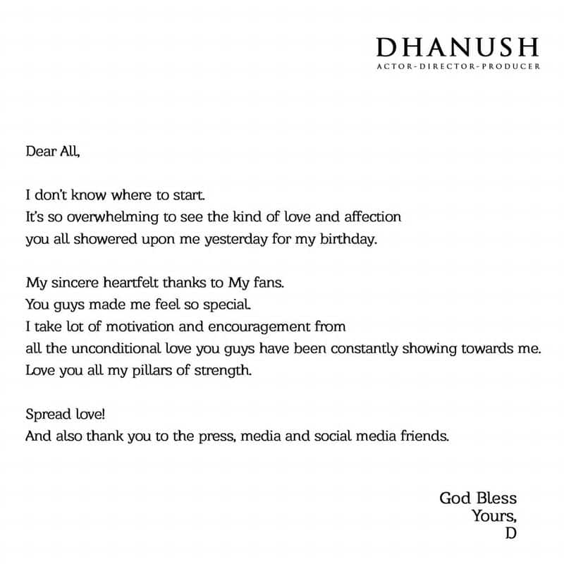 dhanush conveyed thanks to his fans for birthday wishes