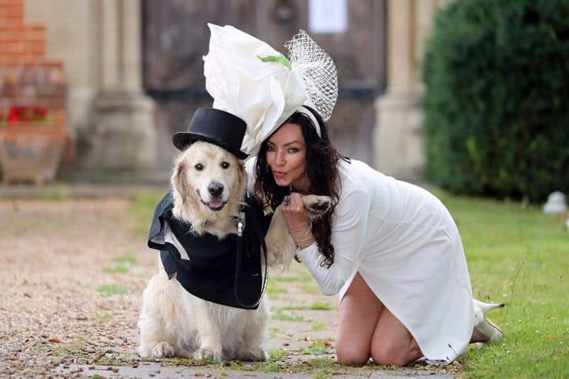 British woman ties knot with her golden retriever, yes a dog!
