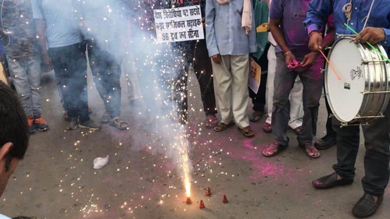 Indians celebrating after removal of article 370  in jammu Kashmir