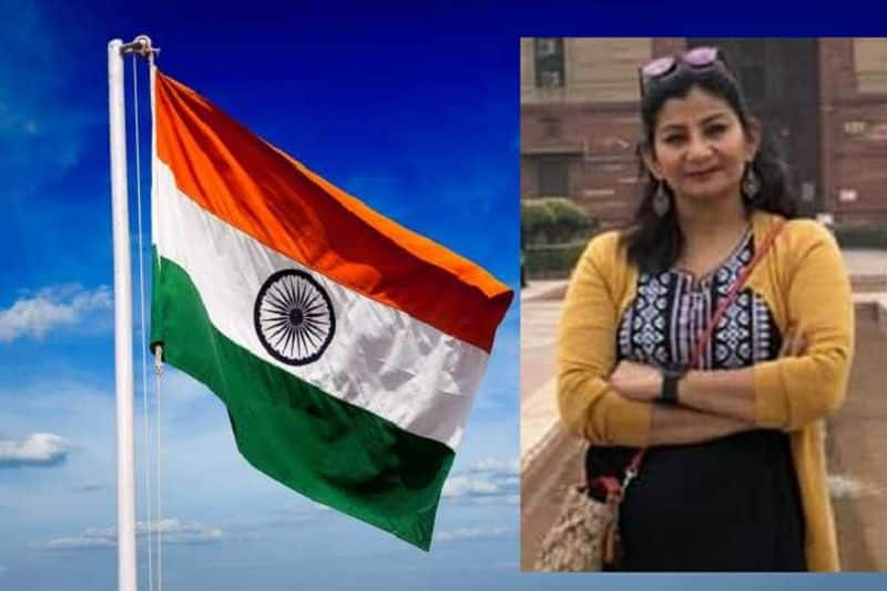 in London pakistani and khalistani protesters was trying to torn our national flag, but indian lady snatched tiranga from their hands