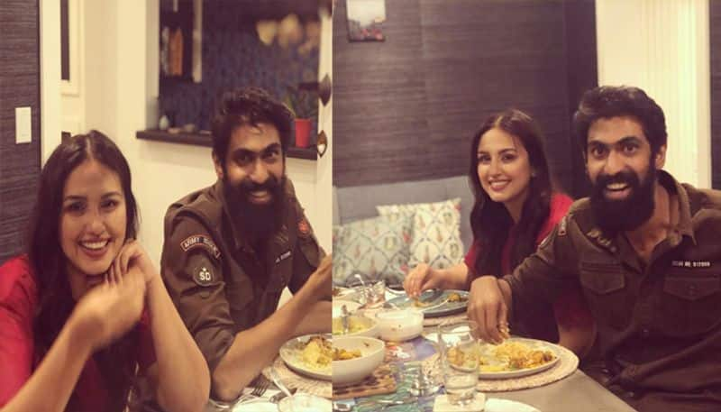 Huma Qureshi and Rana Daggubati enjoy Indian food