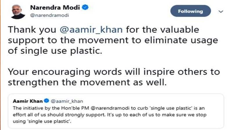 PM Narendra Modi Thanks To Aamir khan For Supporting eliminate usage of single use plastic