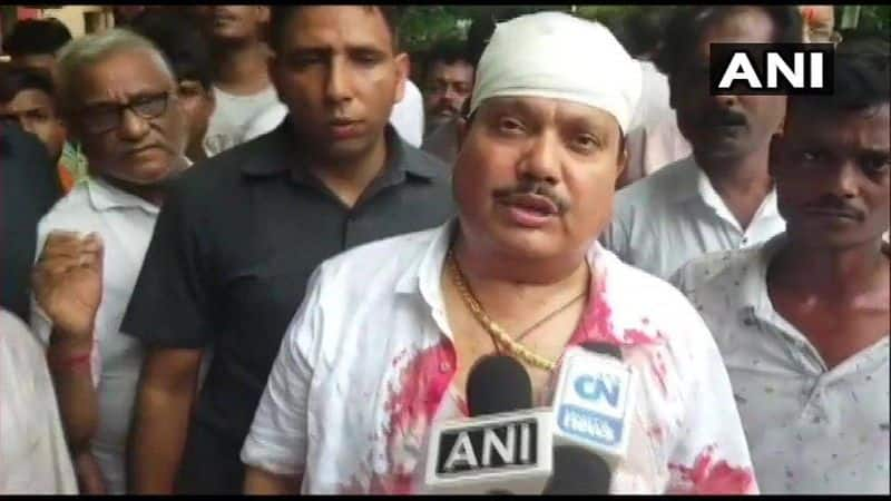 Police baton charge on BJP protest in west bengal BJP MP arjun singh injured