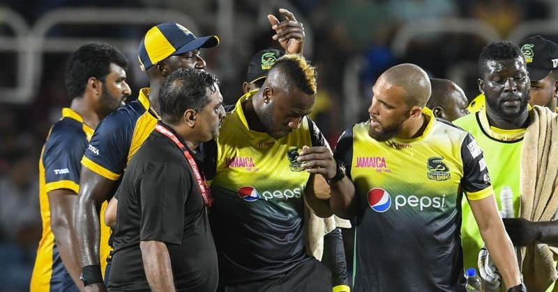 CPL 2019 Andre Russell suffers blow helmet stretchered off ground