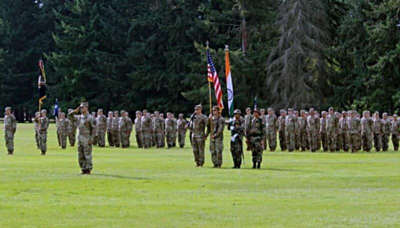 US army band plays Jana Gana Mana during joint military drill