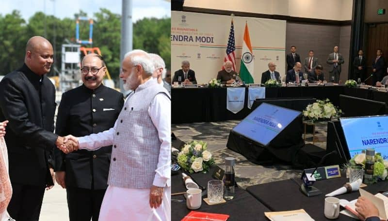 PM Modi reached america and start meeting with energy company officers and indo american people