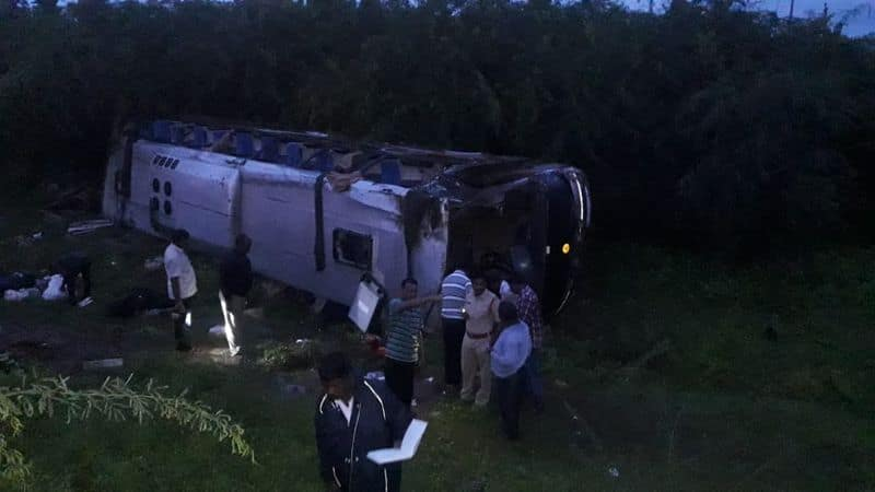 10 injured after bus accident in suryapeta district