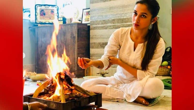 Mimi Chakraborty shared a snap of puja at home