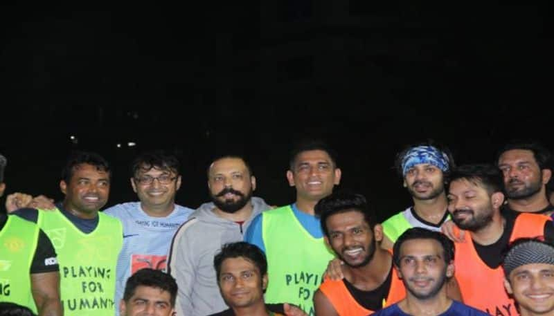 MS Dhoni in football ground with Indian tennis superstar Leander Paes