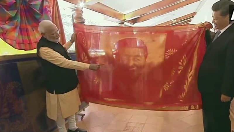 Modi Xi informal summit PM gifts President a hand-woven silk portrait of himself
