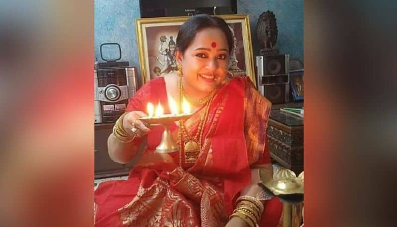 All done by herself,  Aparajita Adhya in Lakshmi Pujo