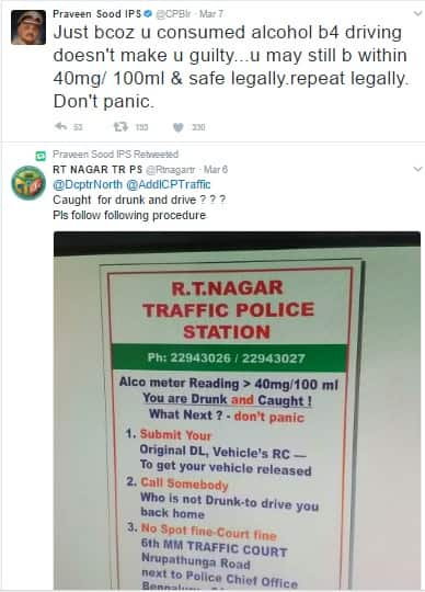 Bengaluru top cop tweets its ok to drink and drive does he