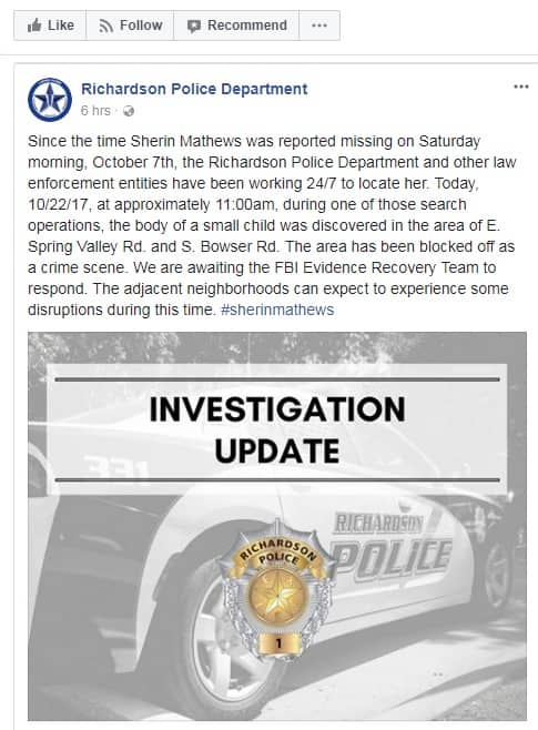 Sherin Mathews missing Police find a childs body near home await confirmation