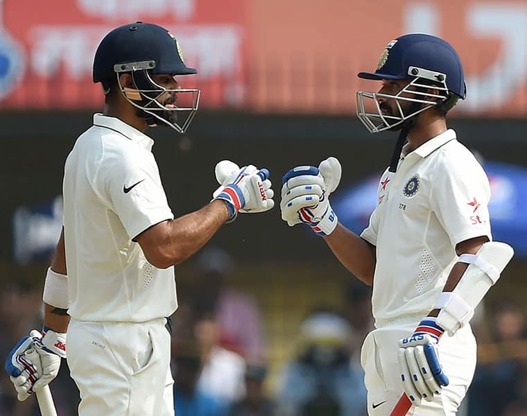 rahane got out in very first over of third day and kohli hits 25th test century in perth