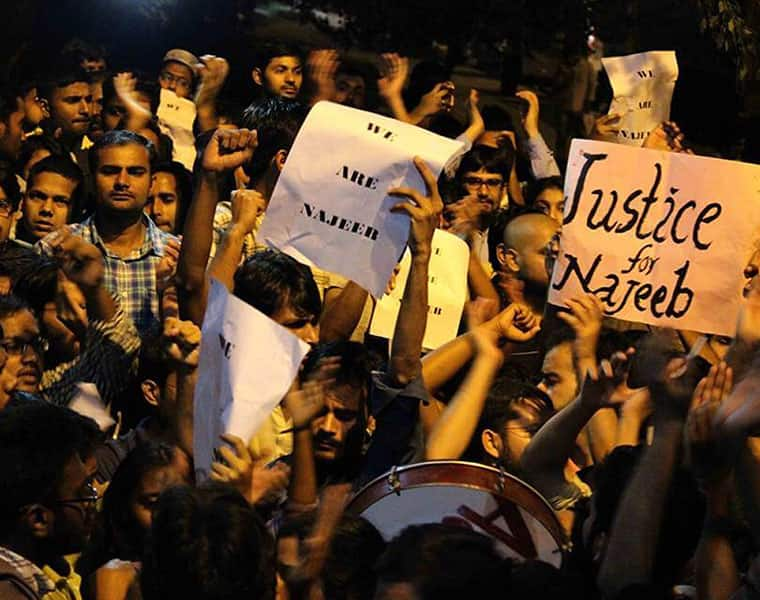 JNU Student Missing Case Student protest to search him