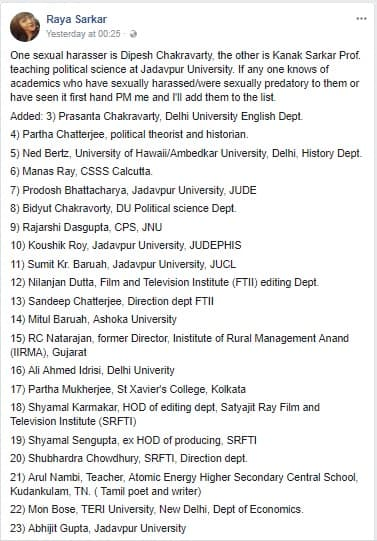 List of sexual harassers in colleges in India causes uproars as lives hang in balance