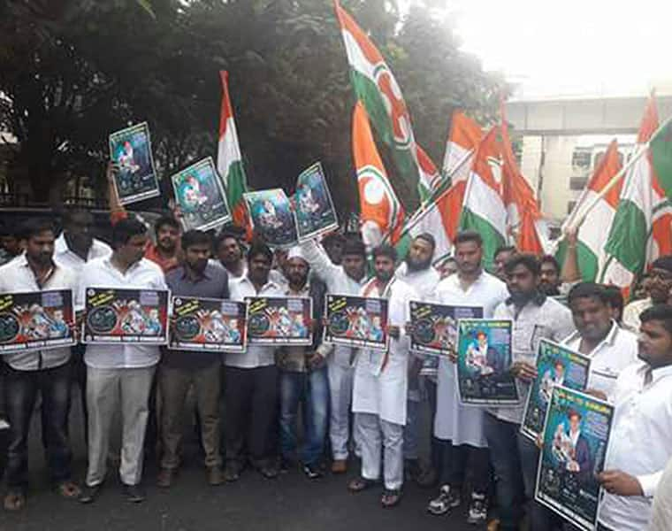 Telangana youth Congress attack on excise office