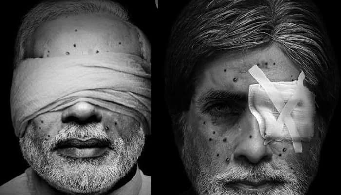Pak group uses 'pellet-hit' images of PM Modi, Amitabh Bachchan for Kashmir issue