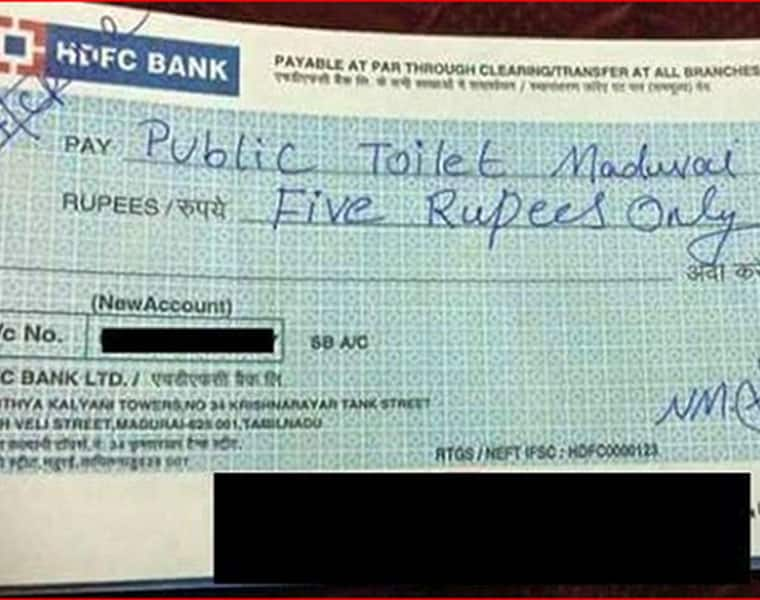 Madurai Man Writes Cheque For Rs 5 After Using Public Toilet