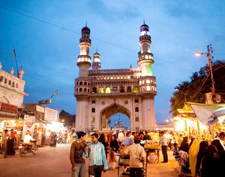 Hyderabad historic Charminar suffers damage part minaret falls