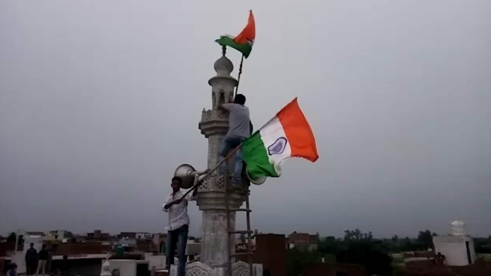 National flag hoisted atop Faridabad mosque activists temple Jai Shree Ram Vande Mataram
