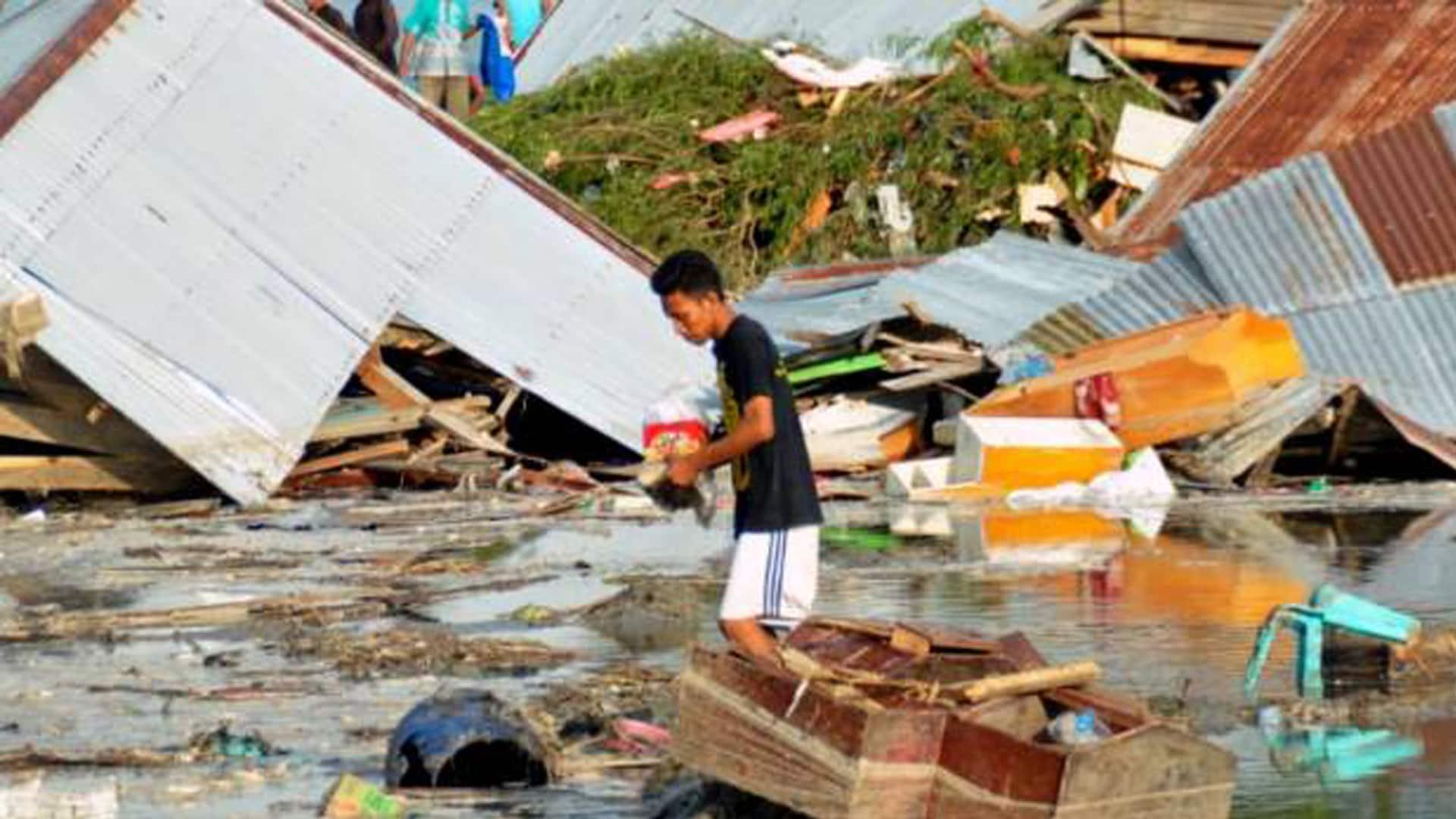 tsunami attack in Indonesia