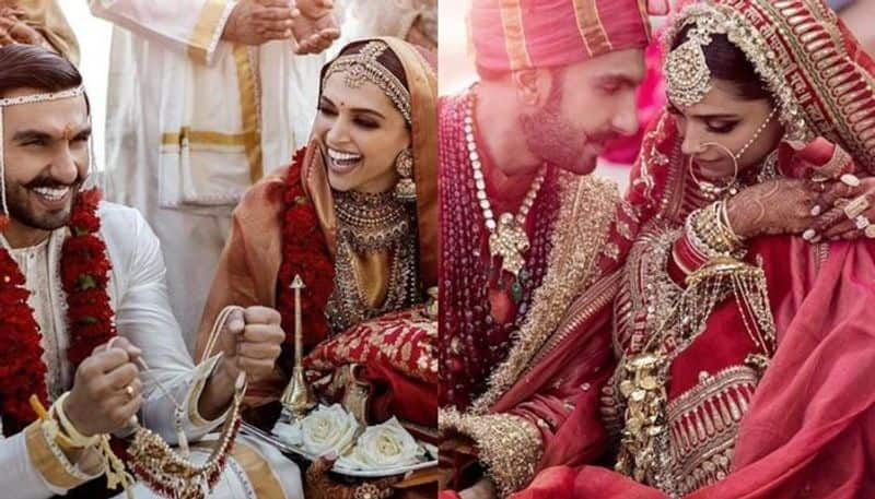 Deepika Padukone is seen donning a red Kanjeevaram saree by Sabyasachi Mukherjee pairing it with heavy bridal jewellery- necklaces, earrings and mathapatti.