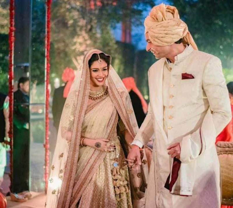 The South Indian beauty chose a golden and beige Sabyasachi lehenga with a hint of maroon on the heavy border for her nuptials with Micromax CEO Rahul Sharma.
