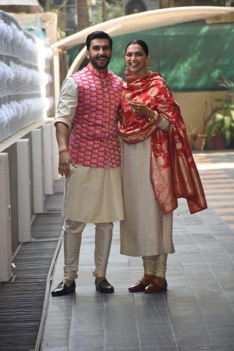The pink Nehru jacket was matching with Deepika's Benarasi dupatta