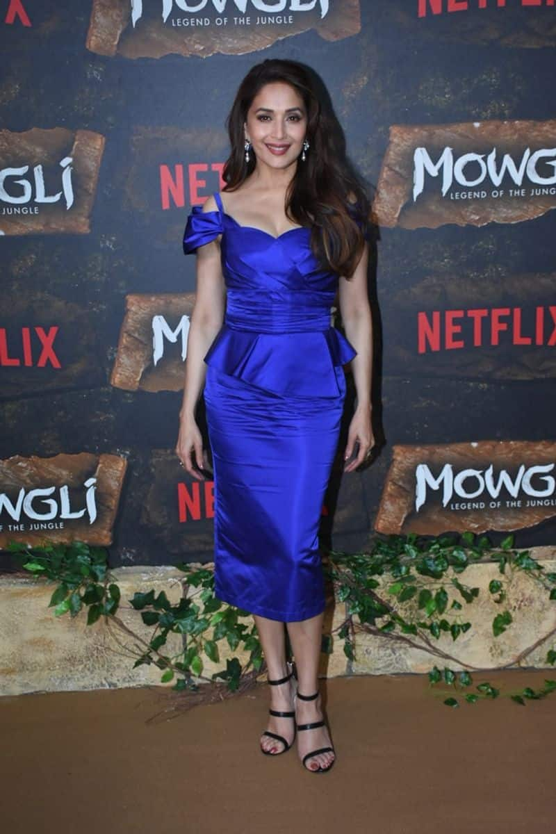 Madhuri rocked a Gauri and Nainika outfit in striking blue hue, just like Anil Kapoor and Bachchan. She will be playing Nisha in Mowgli: Legend of Jungle.