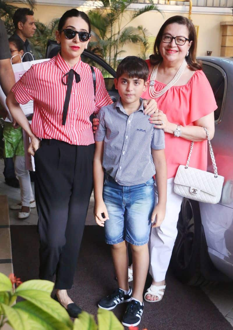 Karisma Kapoor and Taimur's granny Babita came together with Kiaan for the party.