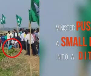 Watch Odisha agriculture minister pushes boy into ditch video goes viral