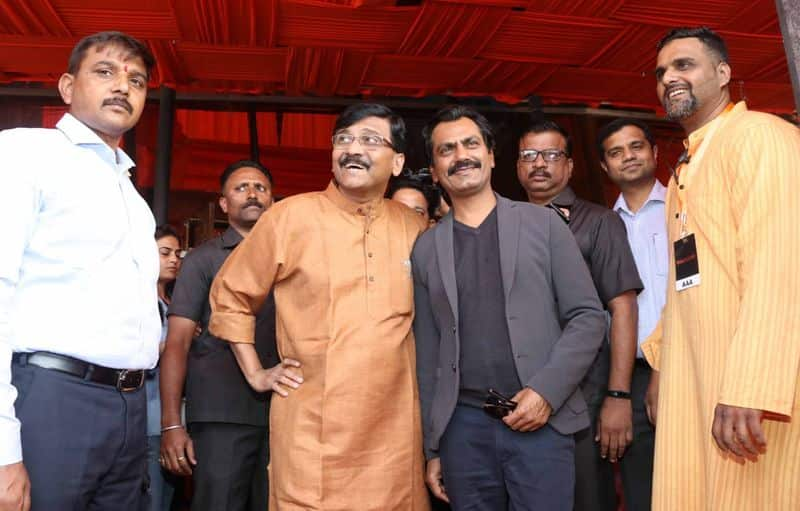 Uddhav was accompanied by Nawaz and the film's director Abhijit Panse and actress Amrita Rao, who is playing the wife of the ex-Shiv Sena leader Meena Tai Thackeray.