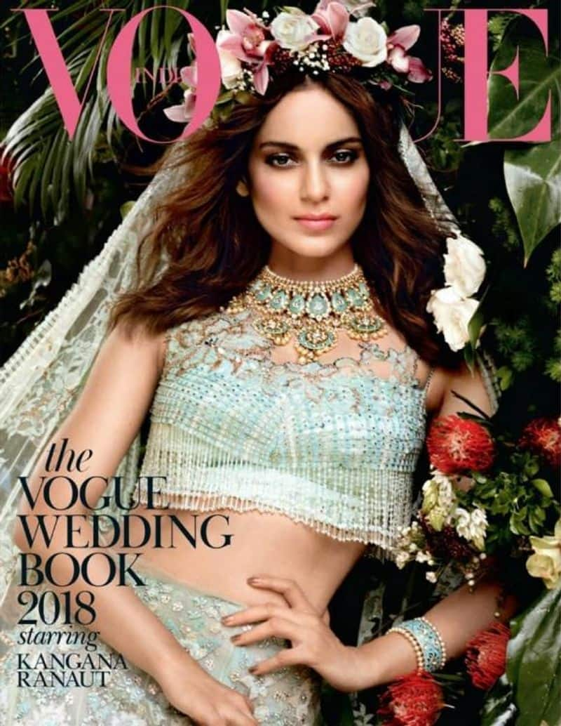 Kangana Ranaut looked an angelic bride in a mint green lehenga on The Vogue Wedding Book 2018