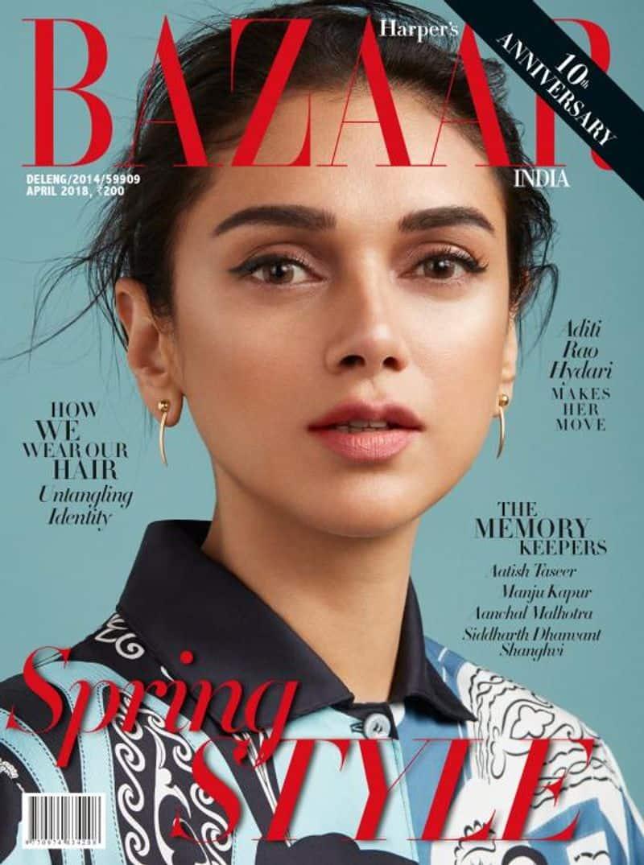 The elegant Aditi Rao Hydari featured on the cover of Harper's Bazaar India for their April issue.