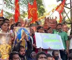 Bengaluru Ayyappa devotees protest  Sabarimala Kerala CM resign