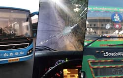 BMTC buses damaged