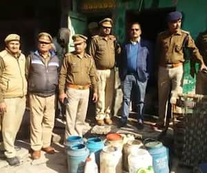 Raiding information on illegal liquor creation in Firozabad