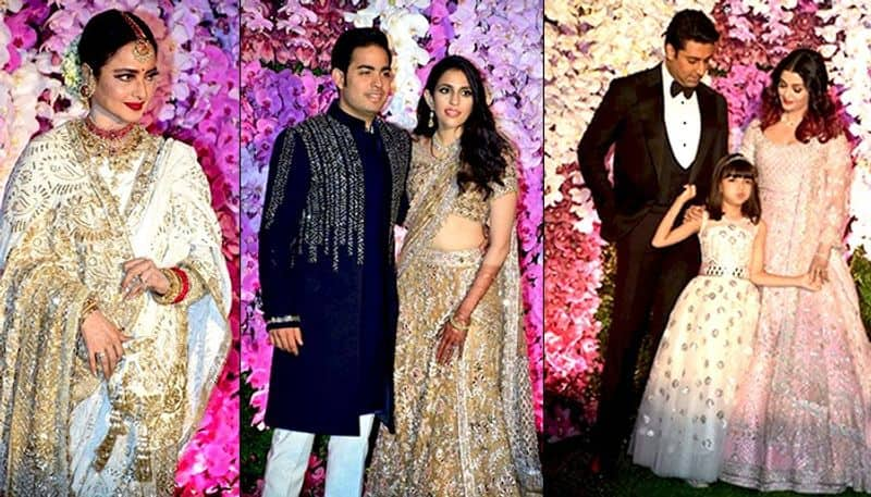 Celebrities and politicians arrived at the Jio World Complex in Mumbai for a post-wedding celebration for Akash Ambani and Shloka Mehta who were married in a glittering ceremony on Saturday, March 09. Bollywood stars Amitabh Bachchan, Rekha, Akshay Kumar and wife Twinkle Khanna, Juhi Chawla, Aishwarya Rai Bachchan and Abhishek Bachchan, with their daughter Aaradhya, cricket legend Sachin Tendulkar and his wife Anjali Tendulkar, musician Anu Malik and his family are among those who were seen at the event. Check out the pictures here. (Picture Courtesy: Yogen Shah)