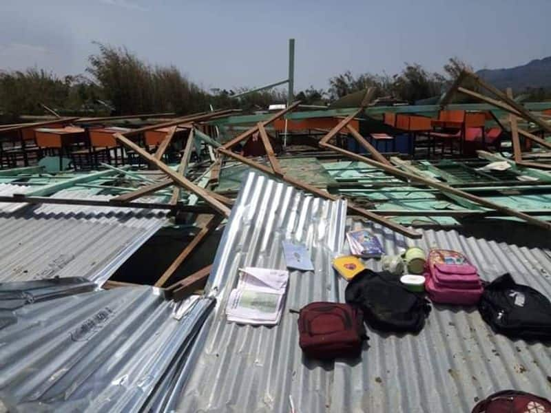 Two women were reportedly taking shelter at a house in K Salemjang village, where the heavy storm destroyed the house.
