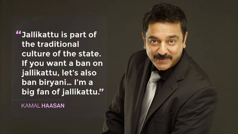 """On Jallikattu: Defending the festival of Jallikattu, the actor said, """"Jallikattu is part of the traditional culture of the state. If you want a ban on it, let's also ban biryani."""" His comments drew widespread opposition."""