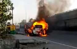 Car caught fire in panipat haryana